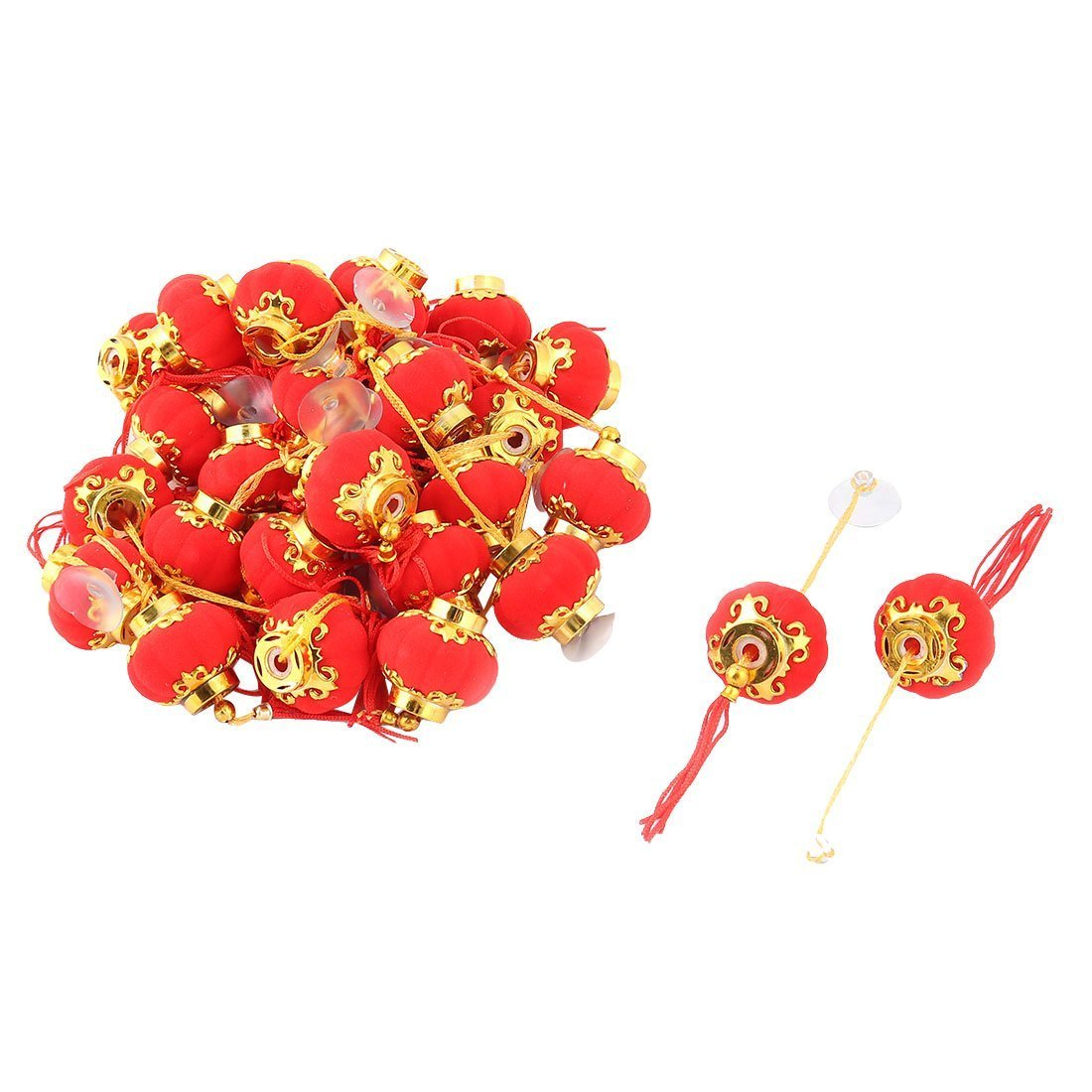 Pumpkin Shape Tassels Adorn Chinese Red Lantern Decoration 30 Pcs Sourcingmap a14010600ux1021