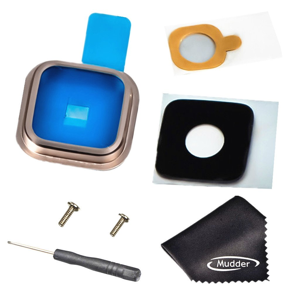 Lente de Cristal de C/ámara Posterior de Nuevo Destornillador 2 PC Tornillo Funda de Metal Anillo de oro Adhesivo Pa/ño de Limpieza Mudder 7-en-1 Reemplazo de Accesorios para Samsung Galaxy S5