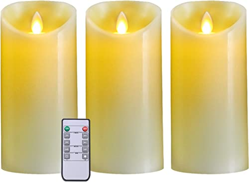 5plots 7 x 3 Flickering Flameless Candles, Battery Operated LED Pillar Candles with Remote and Timer, Moving Dancing Flame, Ivory Wax, Set of 3