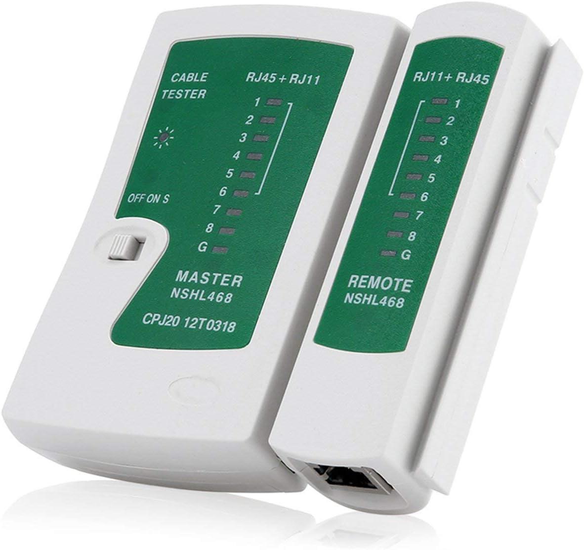 Blanc et vert Professional RJ45 RJ11 Cat5 Cat6 Testeur de c/âble LAN Testeur de c/âble r/éseau portable D/étecteur de ligne t/él/éphonique Tracker Kit doutils FRjasnyfall