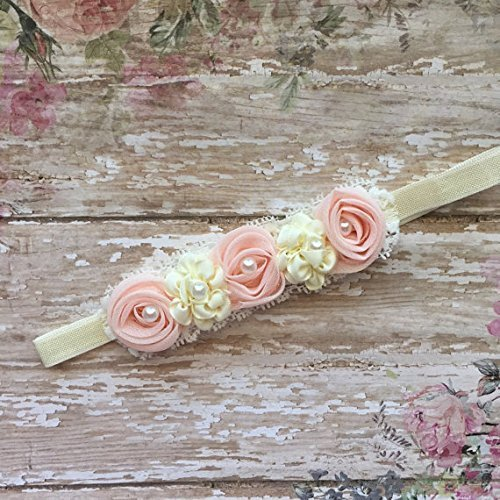 Amazon.com  Light Peach And Ivory Baby Headband 5ab59f31010