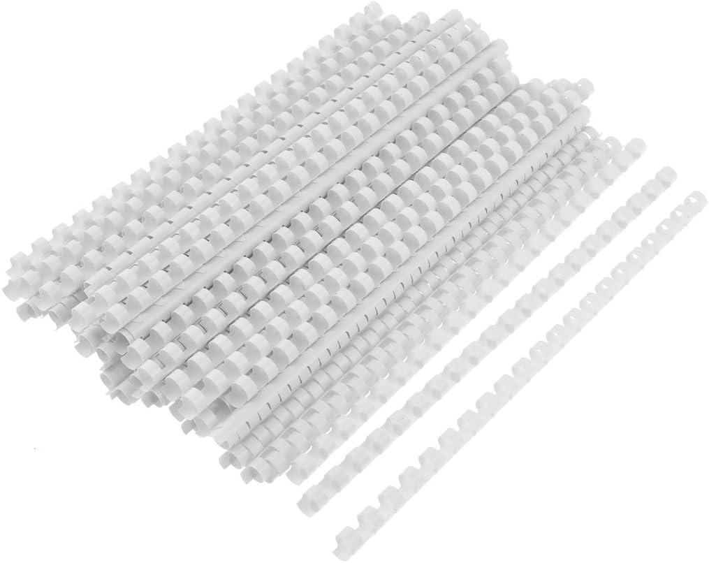 sourcing map 100 pettini di rilegatura bianchi ad anelli lunghezza 29,5/cm di plastica diametro 10 mm per fogli A4