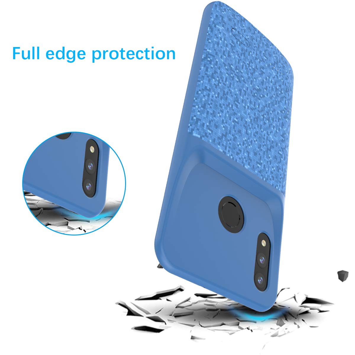 Yadasaro Ultra Fin Portable Rechargeable Batterie Power Bank Externe Chargeur Smart Battery Case pour Huawei Honor 10 L Coque Batterie Huawei Honor 10 Lite 2019 P Smart 4700mAh 2019