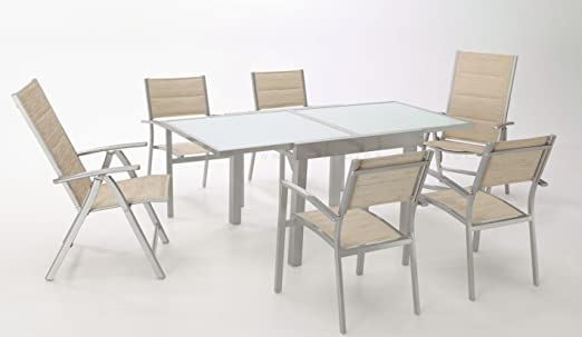 Conjunto terraza aluminio gris textilene acolchado beige Sera 4 ...