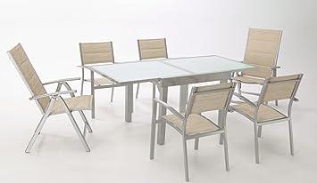 Conjunto terraza aluminio gris textilene acolchado beige Sera ...