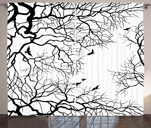 """Ambesonne Nature Curtains, Birds Flying Over Twiggy Tree Branches Autumn Season Sky View Artwork Print, Living Room Bedroom Window Drapes 2 Panel Set, 108"""" X 84"""", Black White"""