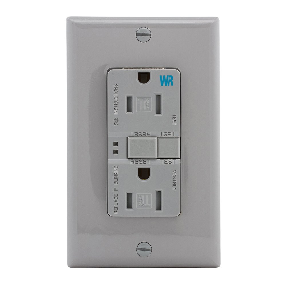 Eaton GFCI Self-Test 15A -125V Tamper & Weather Resistant Duplex Receptacle with Standard Size Wallplate, Gray by Eaton (Image #3)