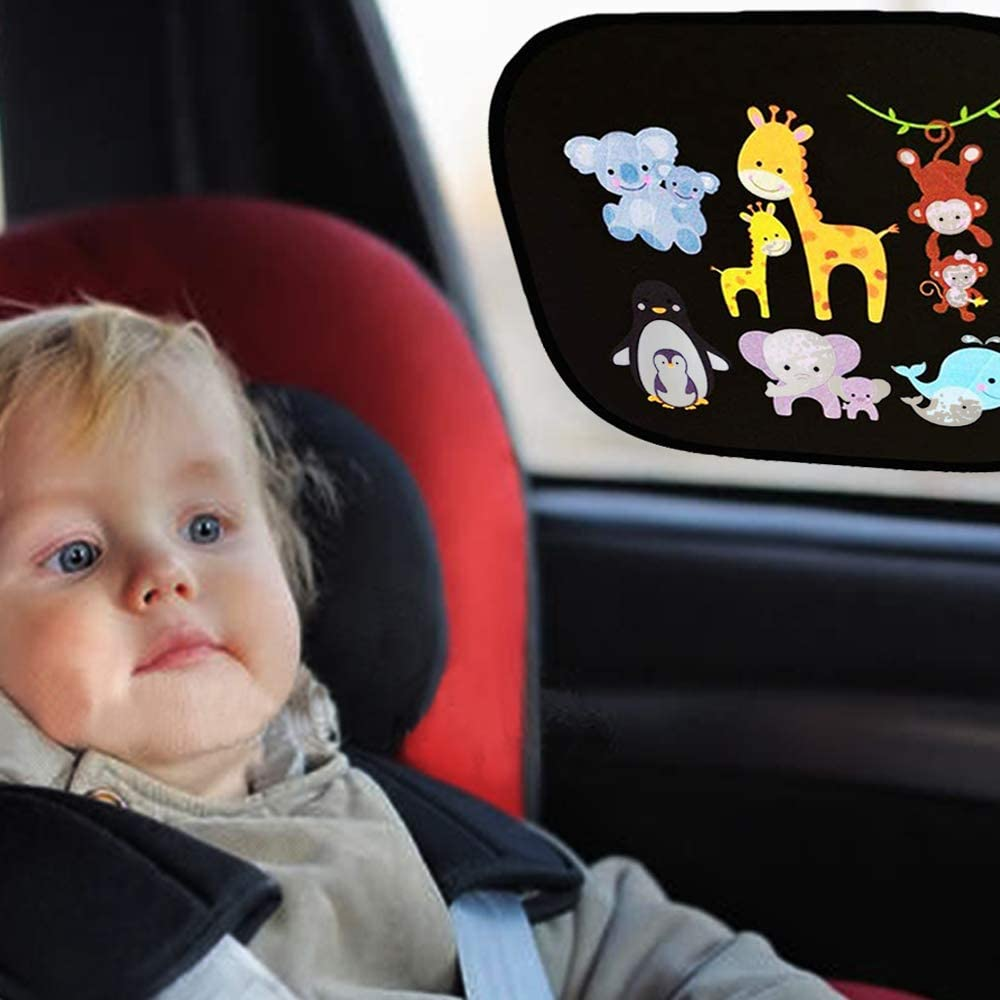 2 Pack, Model 6 YMero Car Window Shades Solar Protection Car SunShade Side Window Windscreen Roof Window with Lovely Cartoon for Children Adults Adsorption Electrostatic with 1 Bonus Cloth