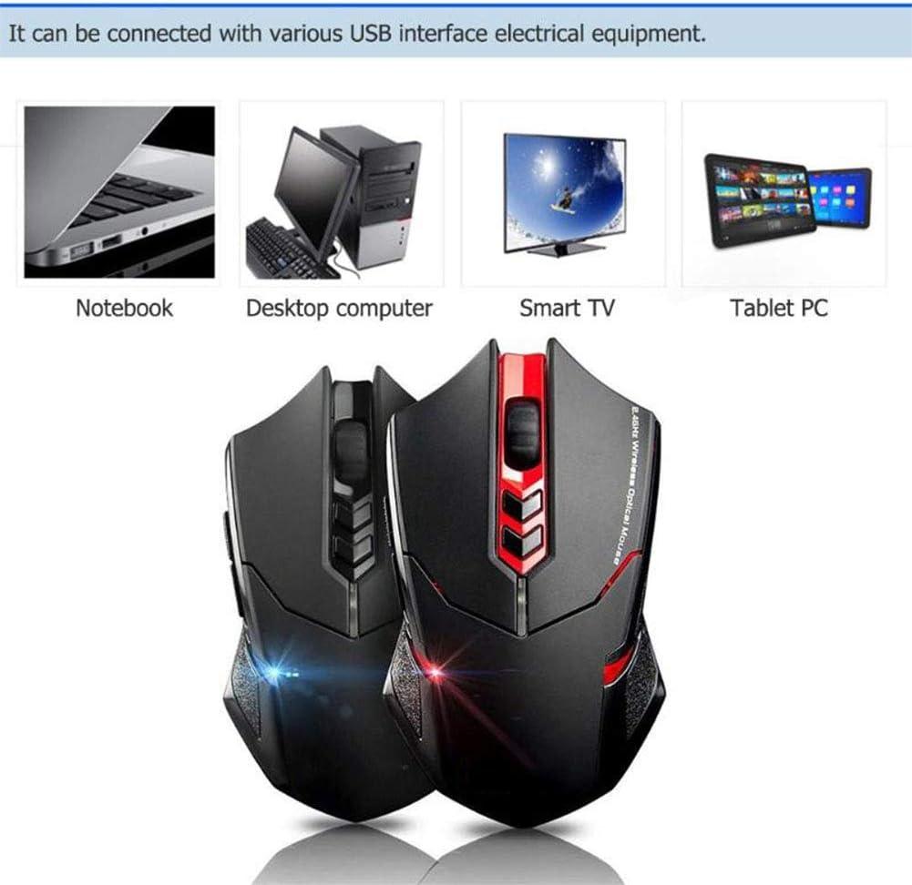 XIAOYH Souris Jeu sans Fil, Ajustable Professional Gaming 2.4G Souris sans Fil Rouge 800/1200/1600/2000/2400 DPI Souris Red