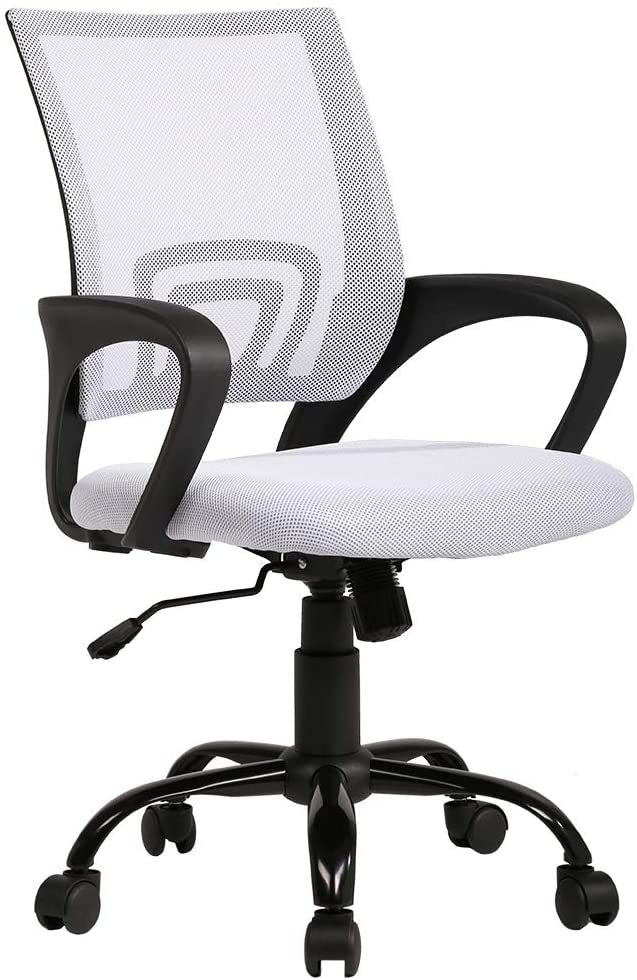 Amazon Com Office Chair Mesh Computer Chair Back Support Modern Adjustable Rolling Swivel Chair For Men White Home Kitchen
