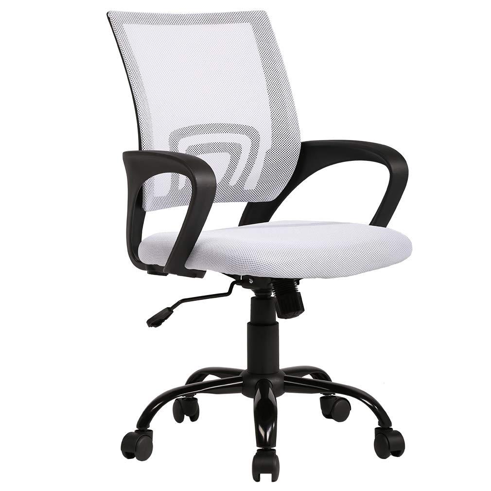 BestOffice Ergonomic Office Mesh Desk Task Computer Lumbar Support Modern Executive Adjustable Rolling Swivel Chair for Back Pain, White