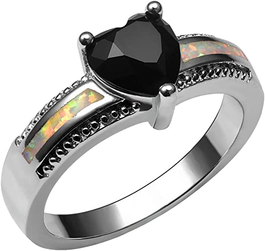 Amazon Com F F Ring Fashion 925 Sterling Silver White Fire Opal