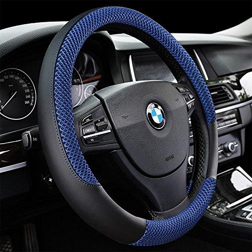 DC Microfiber Leather Auto Car Steering Wheel Cover Anti-slip Universal 15