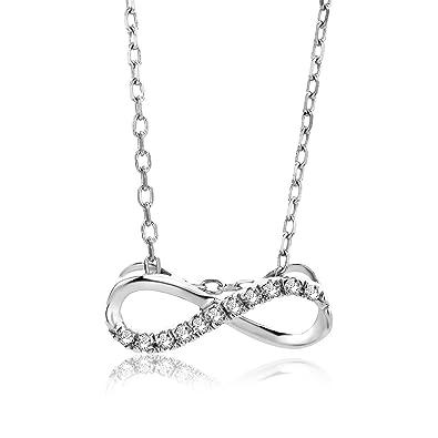 0533f9166e7e orovi Cadena para Mujer Joyas oro blanco 9 quilates 375 oro collar infinito  infinity colgante con diamante brillantes 0