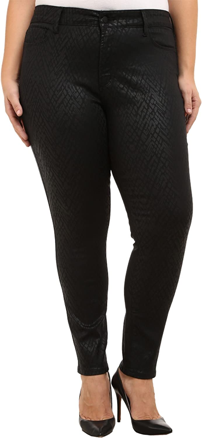 NYDJ Plus Size Womens Plus Size Alina Legging in Black Coated Chevron