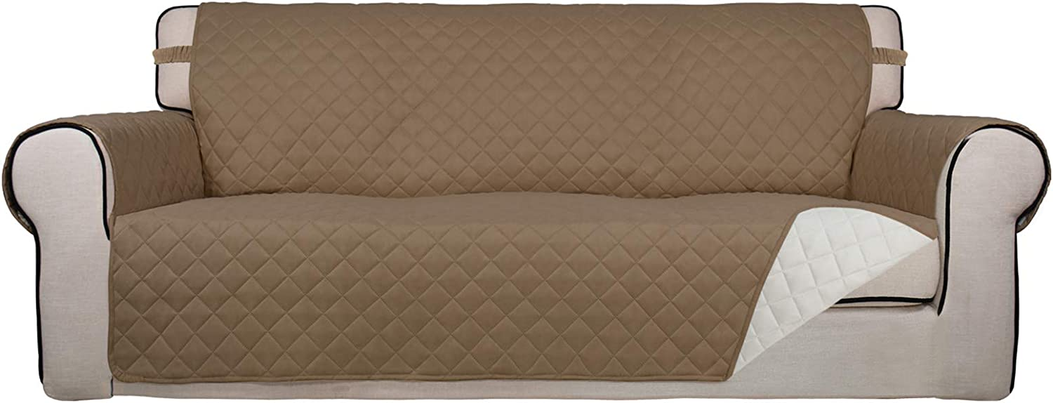 PureFit Reversible Quilted Sofa Cover, Water Resistant Slipcover Furniture Protector, Washable Couch Cover with Non Slip Foam and Elastic Straps for Kids, Dogs, Pets (Sofa, Camel/Ivory)
