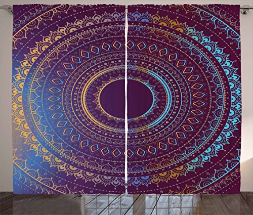 Ambesonne Mandala Curtains, Ethnic Boho Style Sacred Asian Symbol of Cosmos Floral Ombre Details, Living Room Bedroom Window Drapes 2 Panel Set, 108 W X 63 L Inches, Plum Sky Blue and Apricot ()