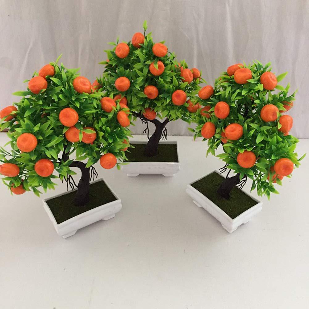 Pittospwer 1 Pc Artificielle Orange Bonsa/ï Arbre En Pot Plante Paysage Partie Parti Maison Jardin D/écor