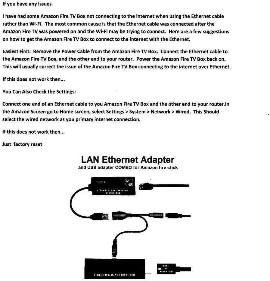 OUYAWEI Buffering Reducing LAN Ethernet Adapter for FIRE TV 3 or Stick GEN 2
