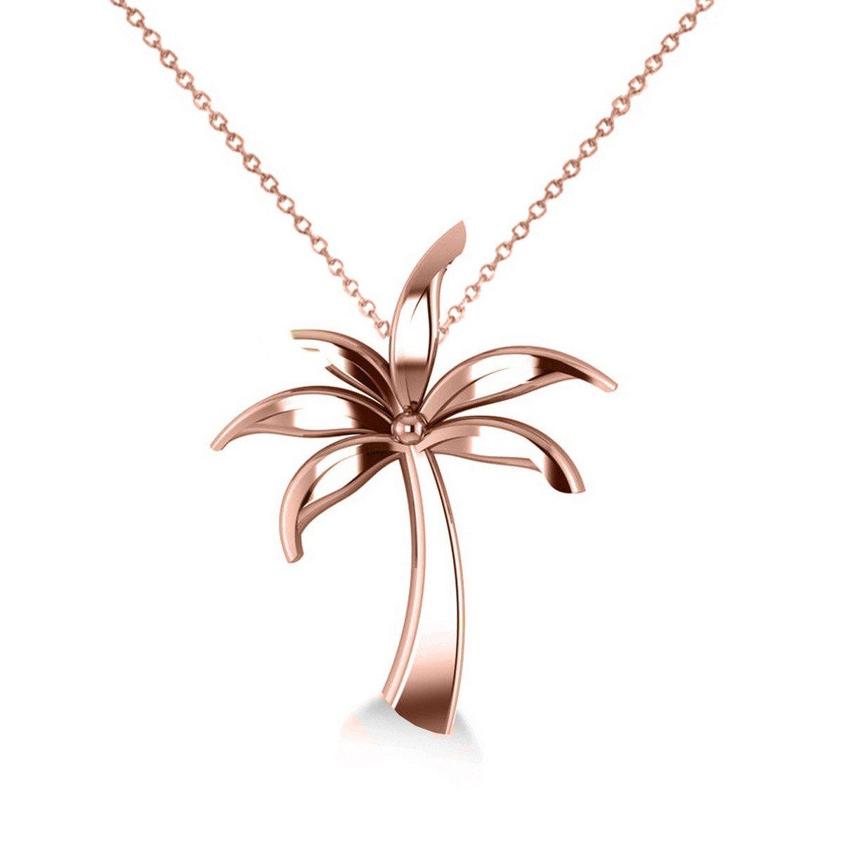 Allurez Summer Palm Tree Ladies Pendant Necklace in 14k Rose Gold