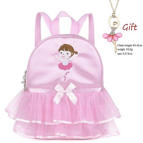 f5e1139605f Amazon.com   Debbieicy Cute Ballet Dance Backpack Tutu Dress Dance Bag +  Necklace Girls (Pink4 of Girl)   Kids  Backpacks