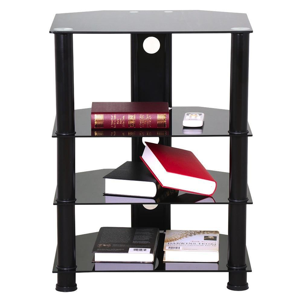 Topeakmart 4 Tier Corner TV Stand with Cable Management Black Glass Media Storage Tower Shelves