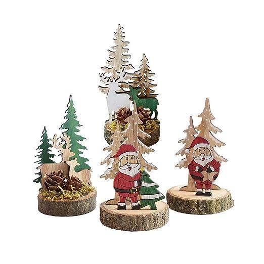 Red ROSEY Árbol de Navidad Decoración de Escritorio de Madera Mini ...