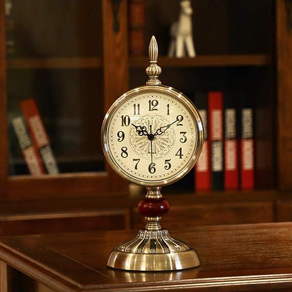 Amazon.com : Family Fireplace Clocks Retro Parquet Silver Plated Copper Table Clock Silent Clock Desk Clock Bedroom Living Room P Clock é Pendulum Suitable ...