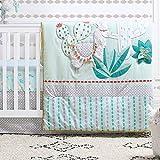 Little Llama 3 Piece Mint Green and Grey Baby Crib Bedding Set