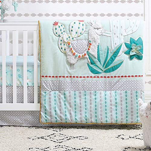 Little Llama 3 Piece Mint Green and Grey Baby Crib Bedding Set