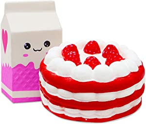 VCOSTORE Jumbo Squishies Straberry Cake and Milk Pack, Slow Rising Food Set Squishy Soft and Scented Squeeze for Kids Adults Stress Anxiety Relief Party Favor Supplies Table Decorations