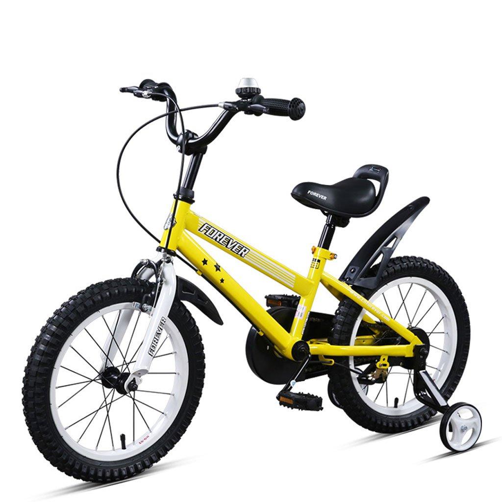 子供用自転車16インチ高炭素鋼合金自転車4-8歳の子供用自転車、ブラックイエロー/ホワイトブルー (Color : Black and yellow) B07CVT4Z2G
