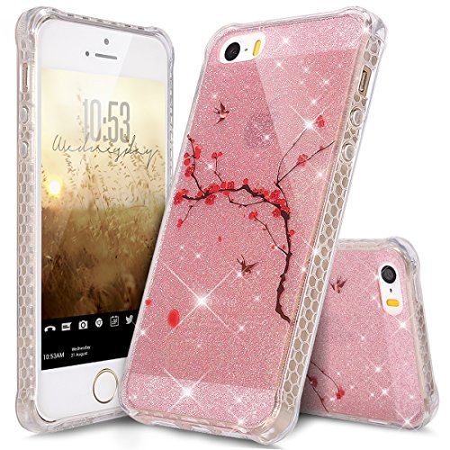 Price comparison product image iPod Touch 6 Case, iPod Touch 5 Case, ikasus Bling Glitter Sparkle Anti-color Fading IMD Ultra Slim Thin Flexible Soft Silicone TPU Rubber Case Cover for iPod Touch 6 / 5 5th, Pink Red Plum Blossom