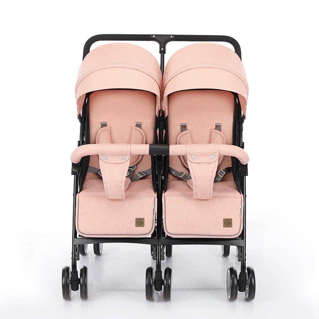 Fenfenツイン赤ちゃんベビーカー軽量衝撃吸収赤ちゃん折りたたみ式ダブルベビーカー、ピンク/ブルー、6176100 CM B07CB1BJWFピンク
