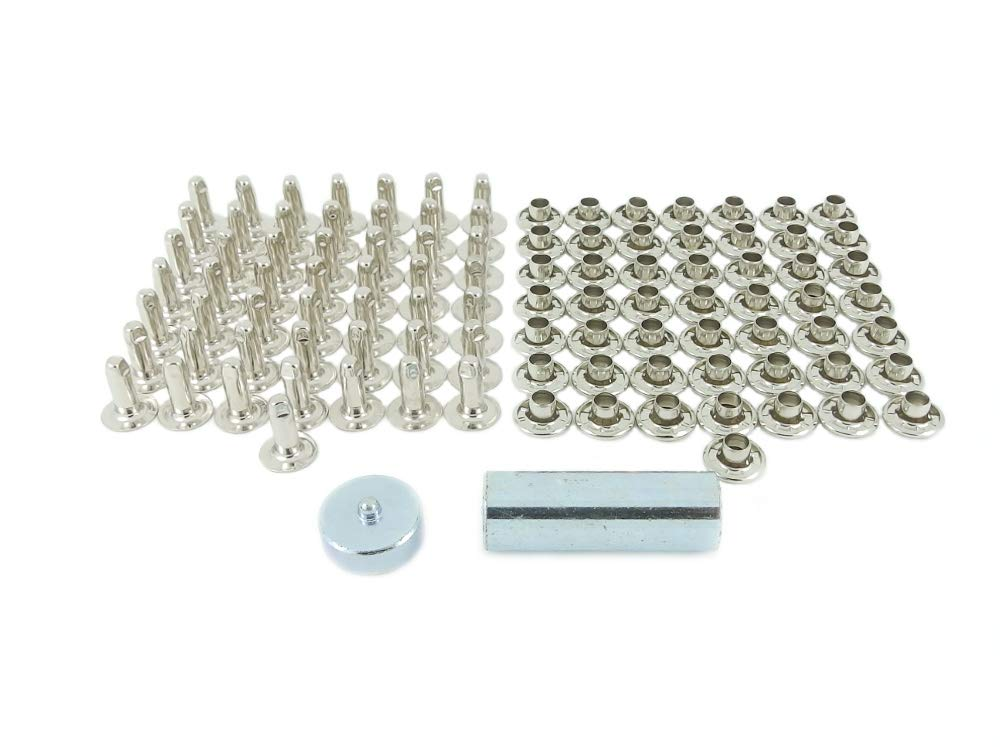 BP 504-10-12 M20 Nickel Plated Brass Rivet Kit with 10.5mm Caps & 12mm Backs by OSSIAN