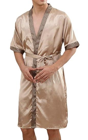 43691610d5 Pandapang Men Kimono Shawl Collar Short Sleeve Sleepwear Lounge Bathrobe  Summer Robe at Amazon Men s Clothing store