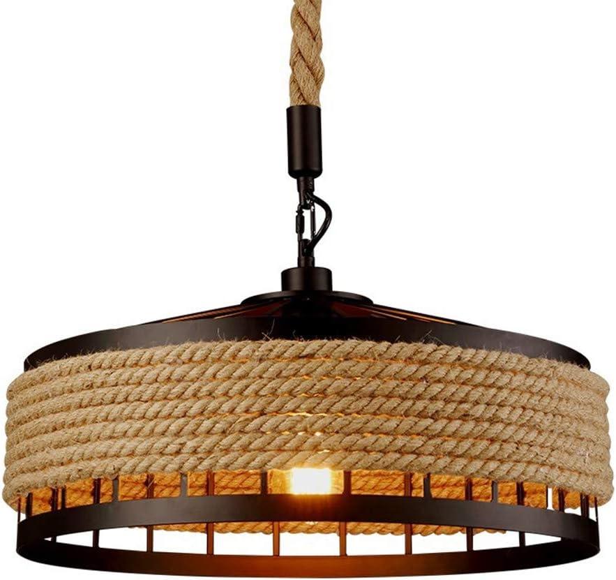 COCOL Lámpara Colgante de luz de Techo, lámpara de Techo de cáñamo Industrial Retro Lámpara Colgante de lámpara de Cuerda de Metal Lámpara de salón Comedor Bar Balcón/No Incluido Bombillas