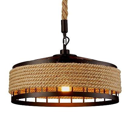 COCOL Lámpara Colgante de luz de Techo, lámpara de Techo de cáñamo Industrial Retro Lámpara Colgante de lámpara de Cuerda de Metal Lámpara de salón ...