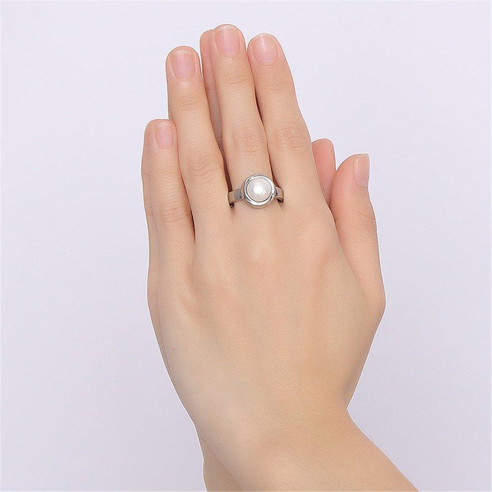 PAURO Mujer 316l De Acero Inoxidable De Titanio Blanco con Prometido Prometido Y Anillo De Bodas para El Amante