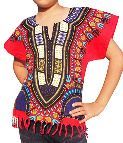 Raan Pah Muang RaanPahMuang Branded Cotton Childs Dashiki Shirt Tassels and Pockets Bold Colours, 8-10 Years, Red by Raan Pah Muang