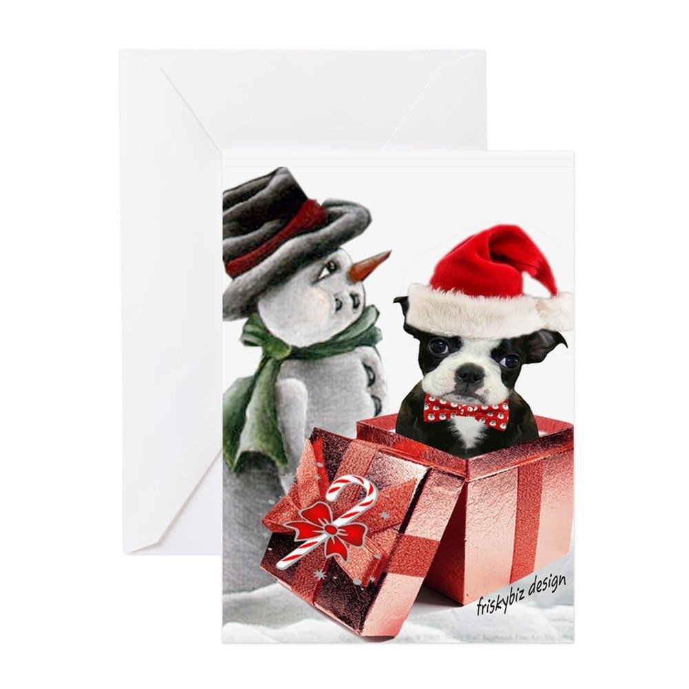 Cafepress Boston Terrier Christmas With Greeting Cards Pk O