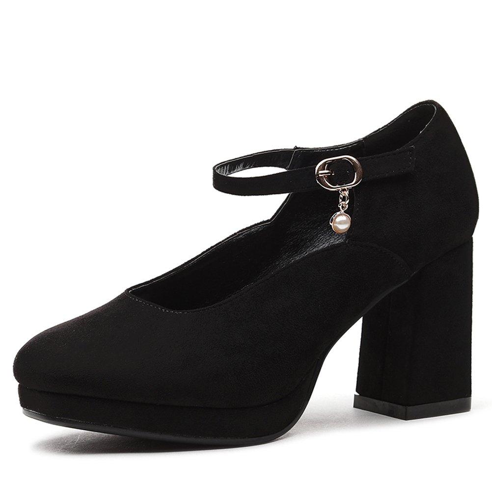 Youxuan Women's Elegant Platform Pump Chunky High Heel Ladies Fashion Ankle Strap Dress Shoe Black 6M US