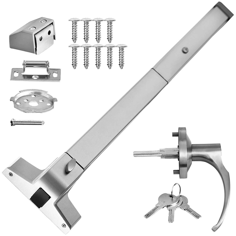 Door Push Bar Handles with Exterior Lever Emergency Lock Stainless Steel Commercial Door Push Bar Emergency Panic Exit Device Door Hardware(Push Bar with Lever)