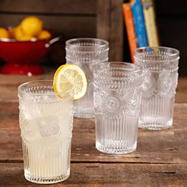The Pioneer Woman Adeline 16-Ounce Emboss Glass Tumblers, Set of 4 (Clear)