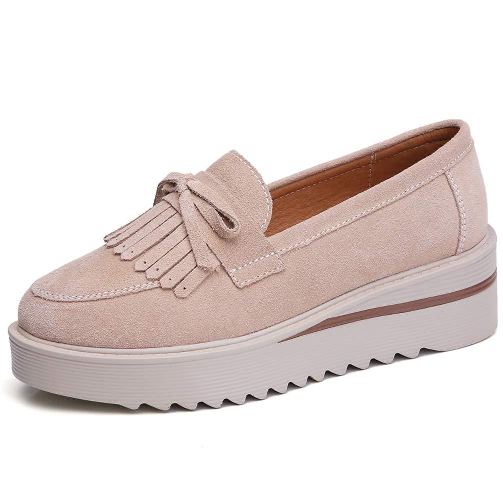 Donne Casual Shoes Nappe Piattaforma in Pelle Slip su Donne Appartamenti Albicocca