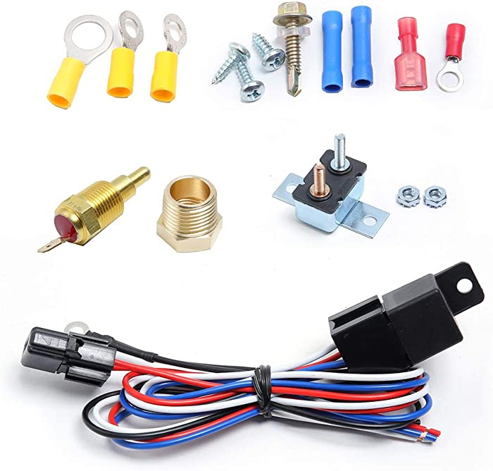 Engine Electric Cooling Radiator Fan Thermostat Temperature Switch Relay Kit,175-185 Degree Temp Sensor Temperature Switch 40 Amp Sensor Relay kit