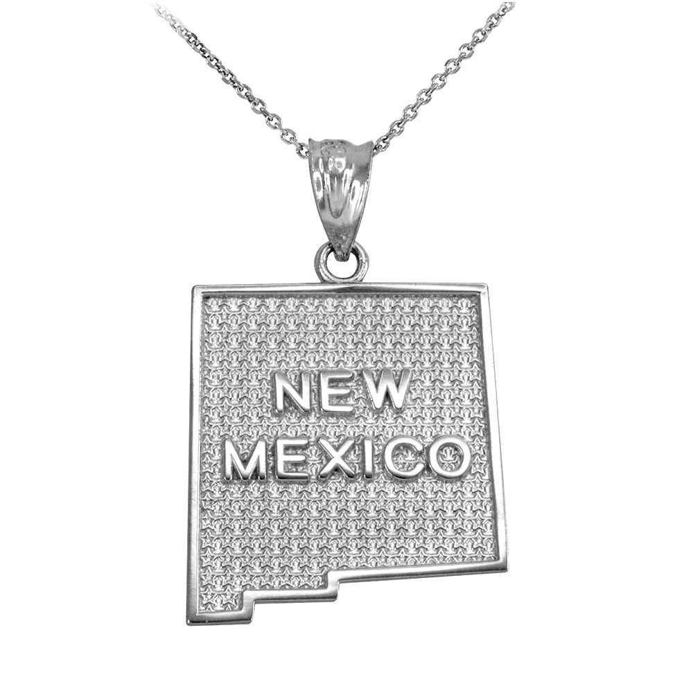 New Mexico NM State Map Pendant Necklace in 925 Sterling Silver