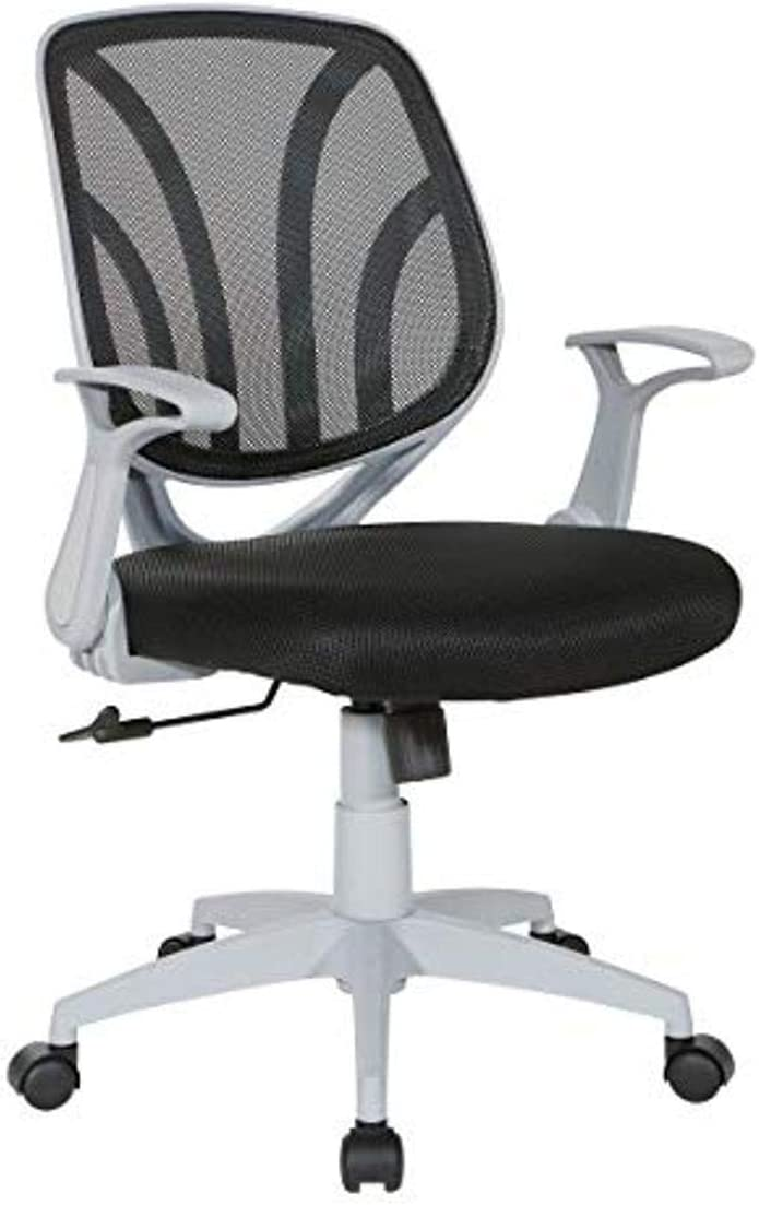 Office Star Padded Mesh Seat and Back Task Chair with Flip Arms, Black