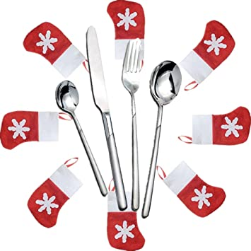 sharej 6pcs navidad muñeco de nieve Papá Noel alce vajilla soporte para cubertería cubiertos cuchillo tenedor
