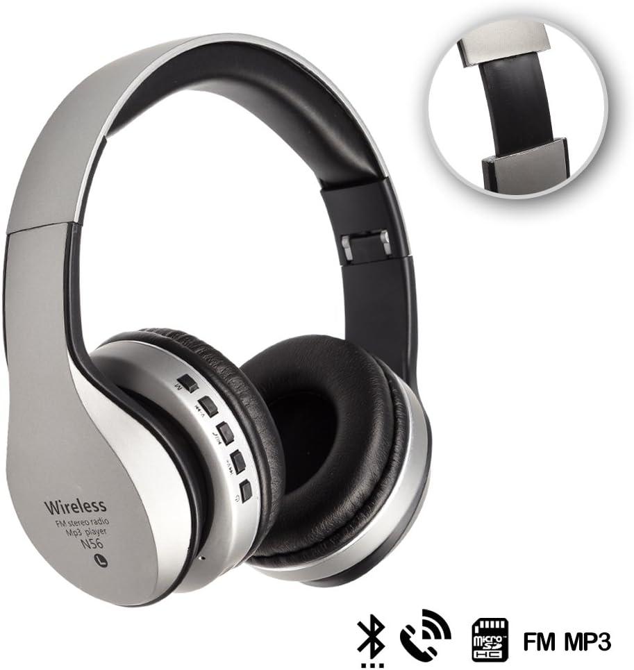 Silica DMX069SILVER DMX069SILVER - Cascos Bluetooth 42 con Radio FM incorporada, Lector de Micro SD y Manos Libres Silver